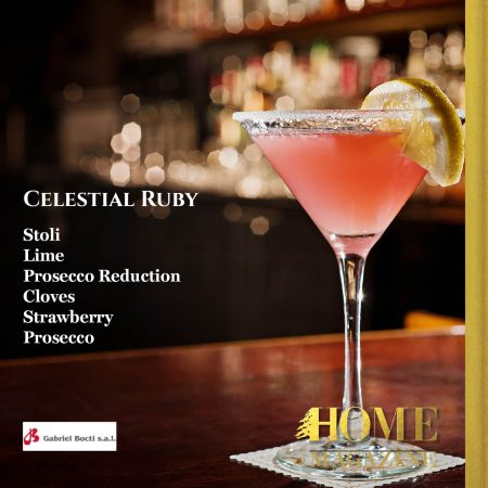 """Celestial Ruby Stoli Lime Prosecco Reduction Cloves Strawberry Prosecco"""