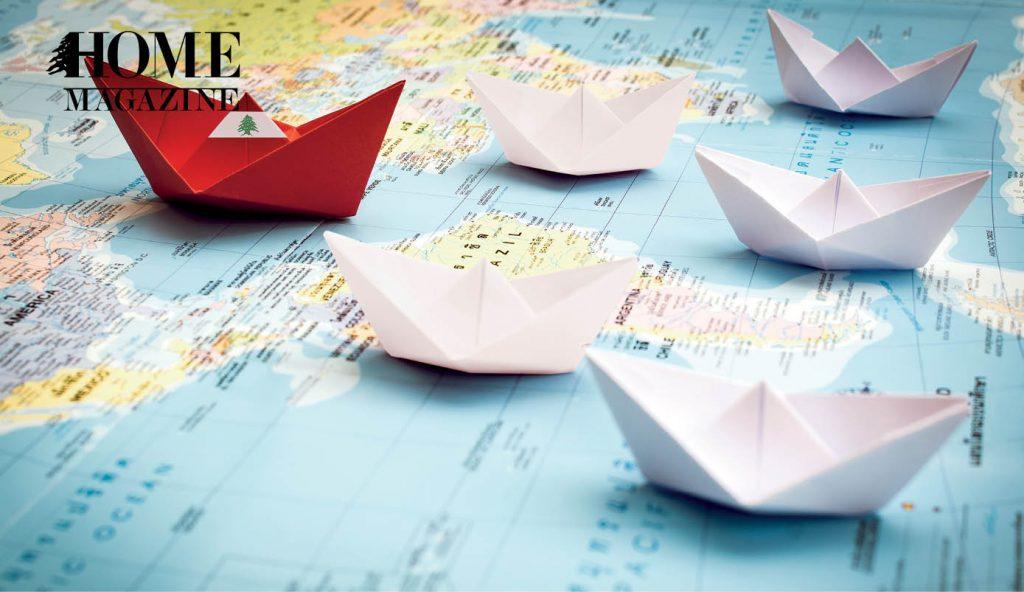 Paper Ships for Lebanese flag on a map