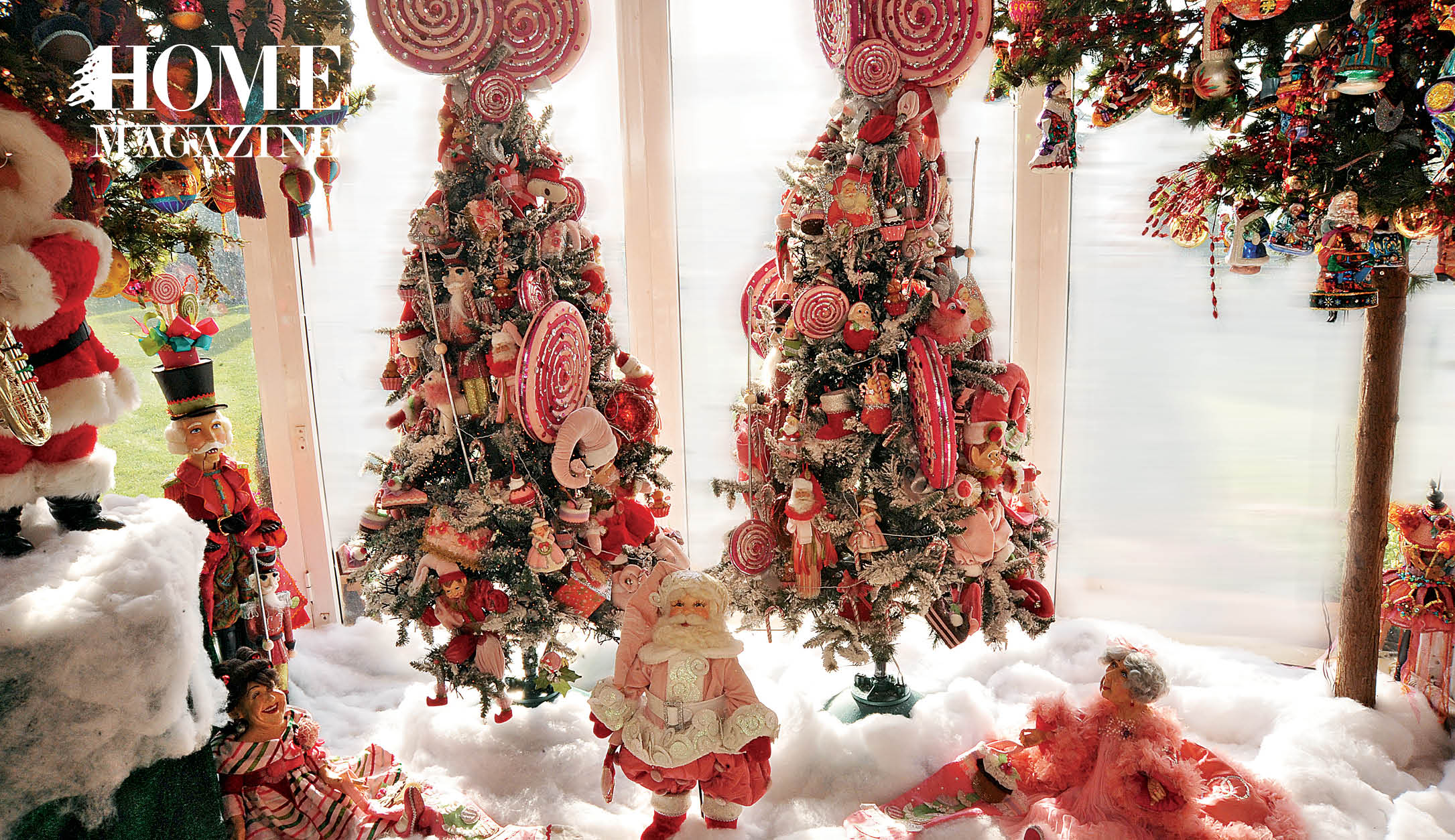 Christmas trees with red decorations