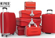 Red travel luggage