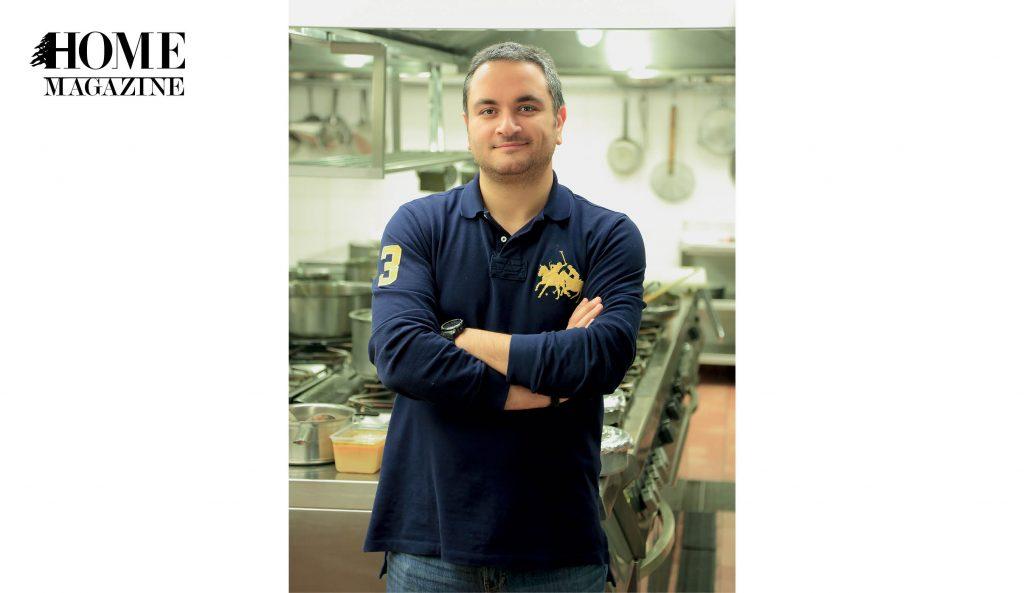 Man wearing navy in kitchen