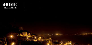 Landscape with houses at night