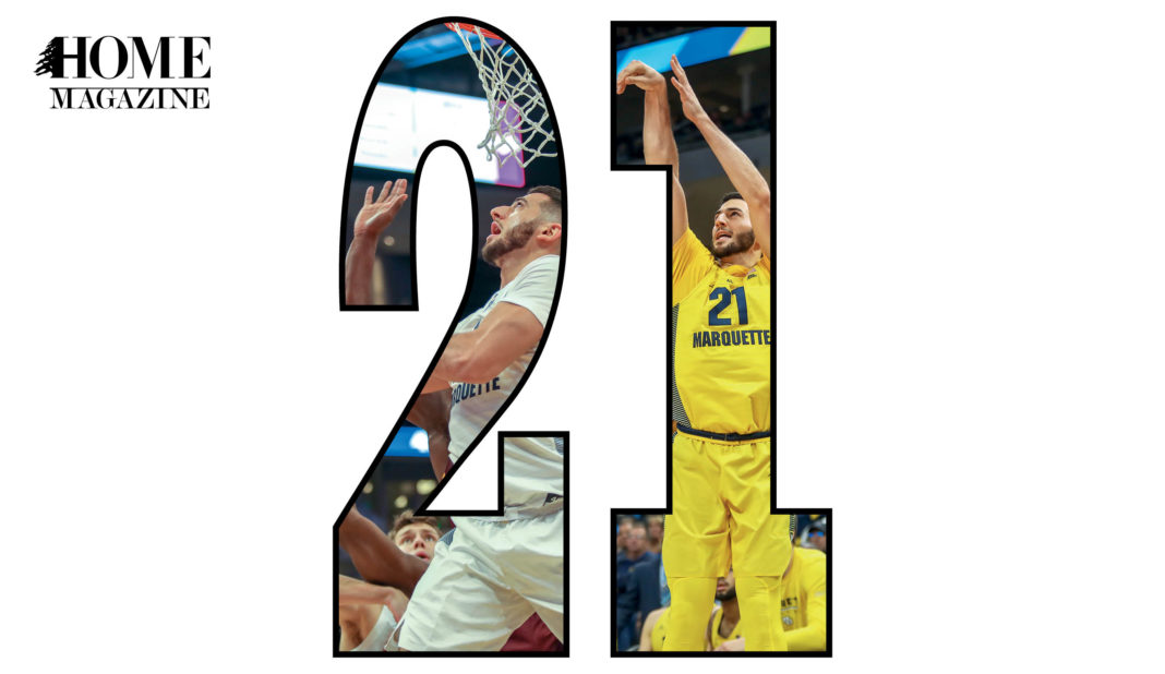 Number 21 with basketball player