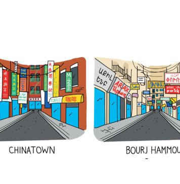 Two Colored Drawings of cities