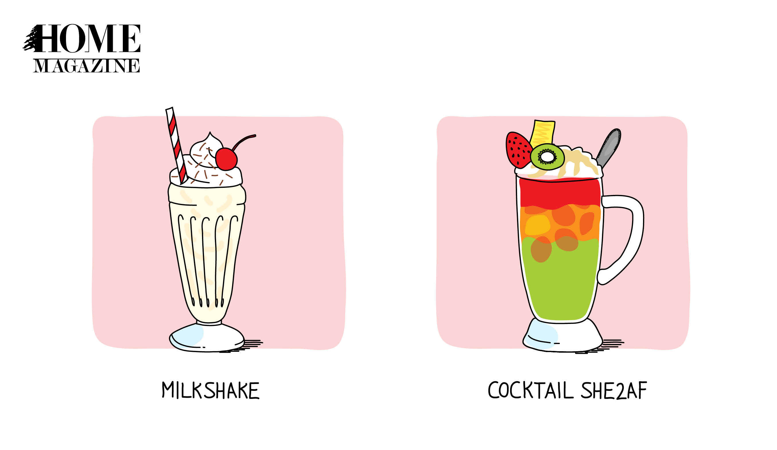 Two pink colored drawings of milkshakes with titles written milkshake and written cocktail she2af