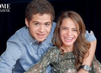 Smiling woman and young boy