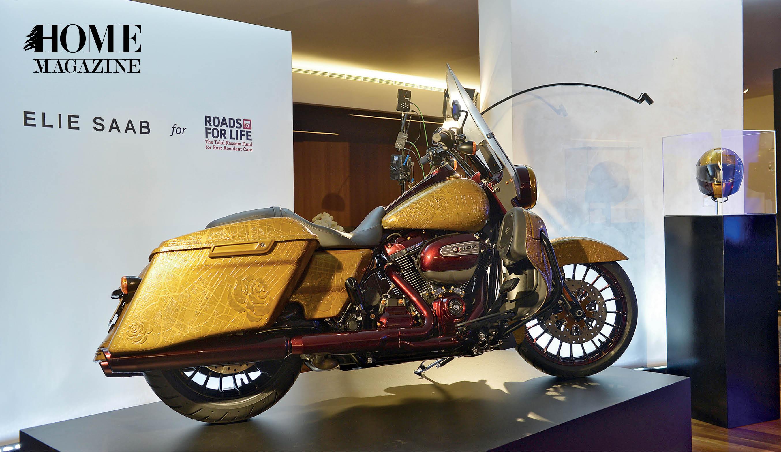 Gold colored motor bike