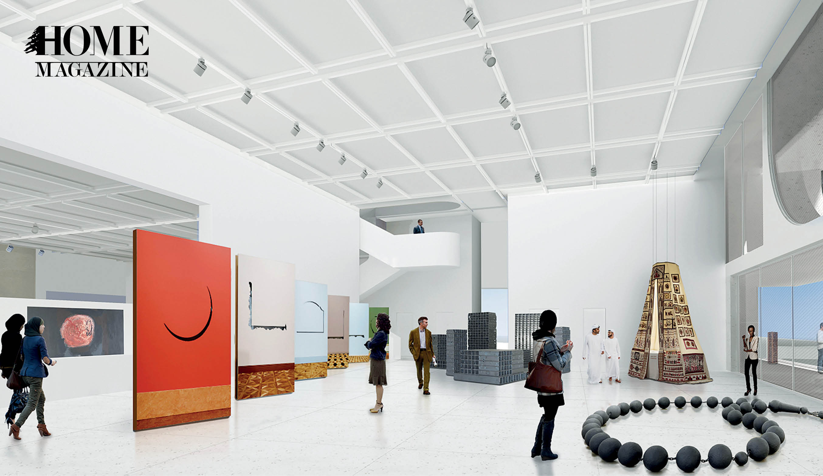 Interior white museum with people and drawings