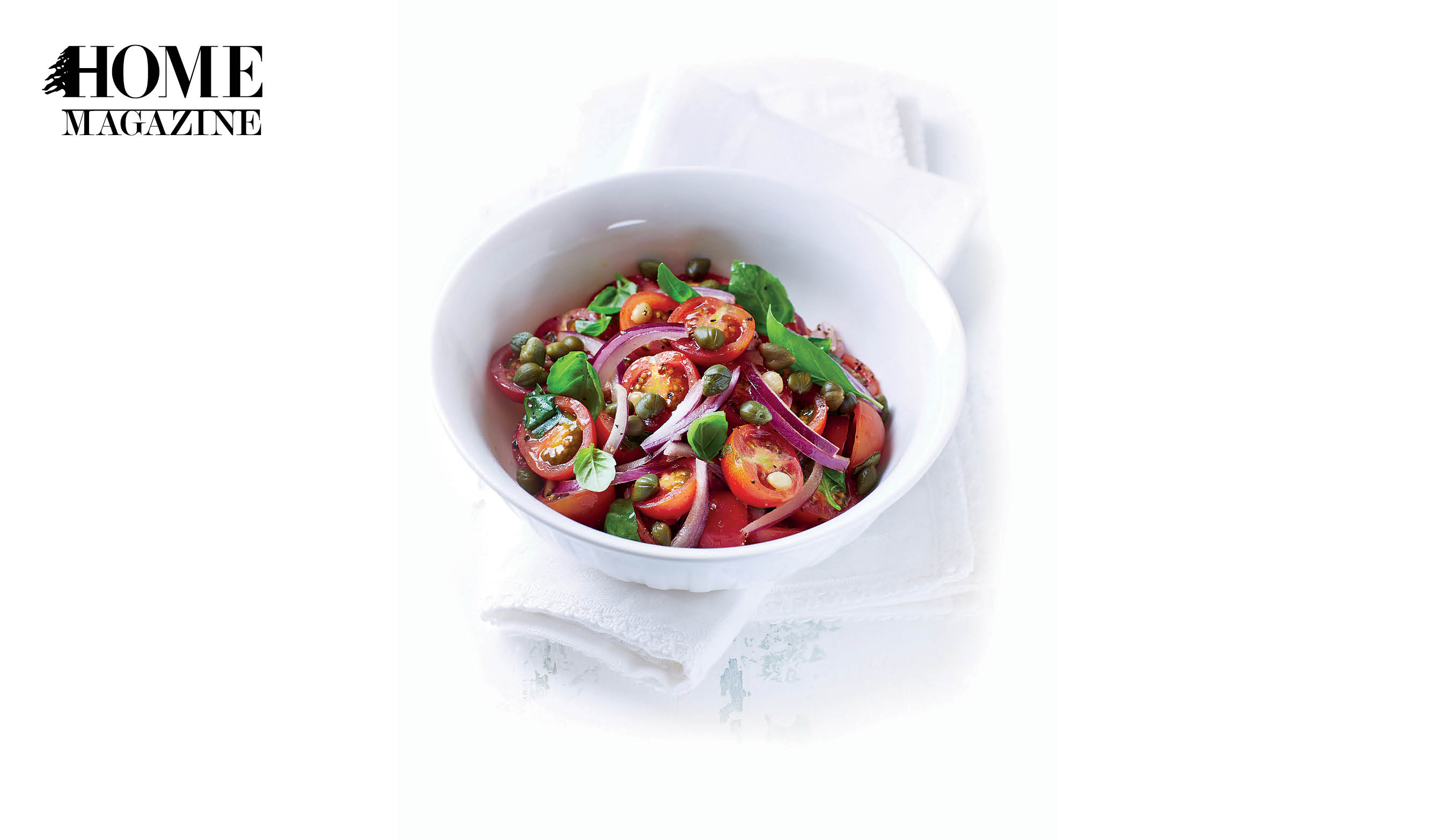 Tomato, Onion and Basil in a white bowl