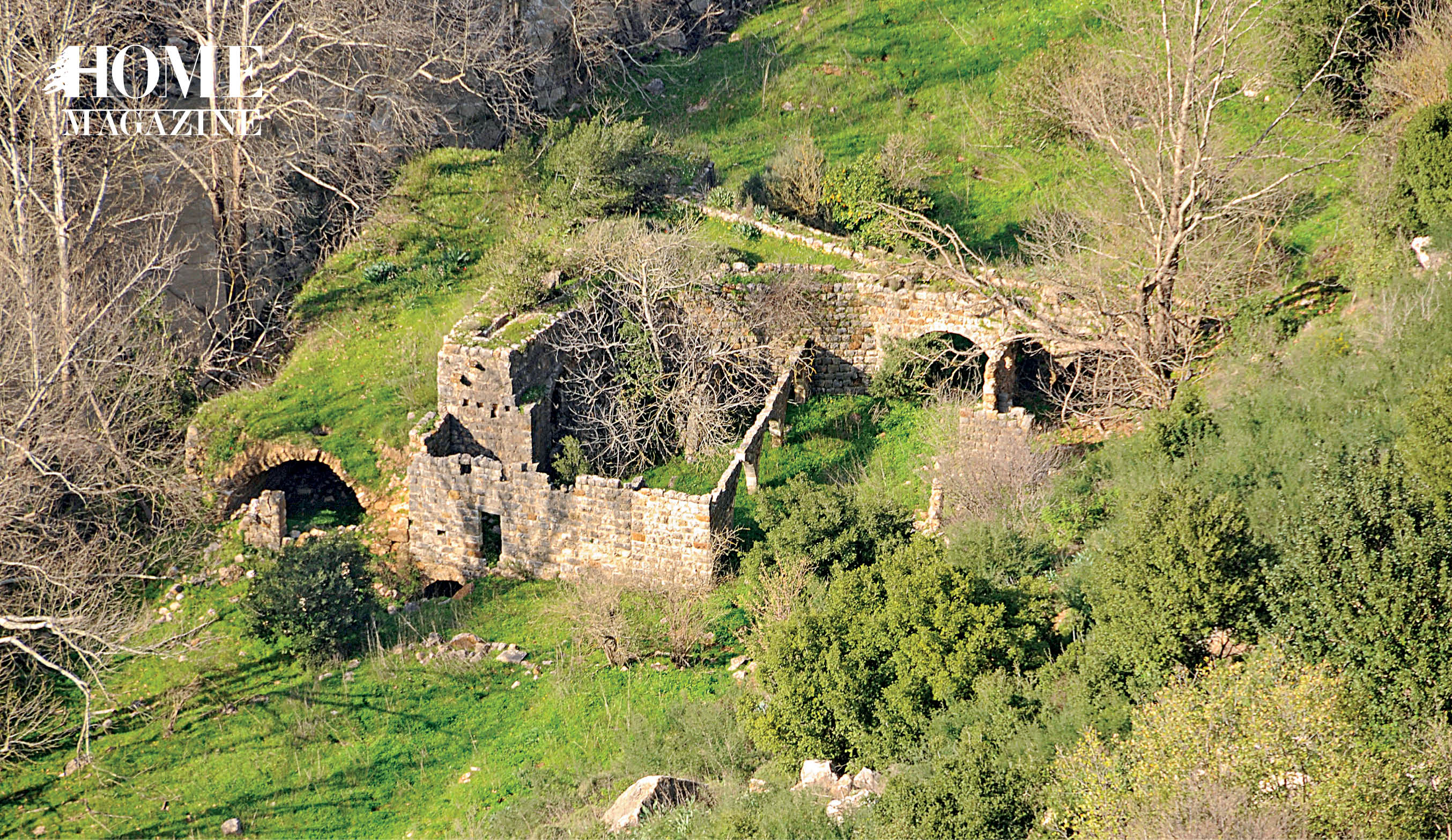 Green landscape with ruins of a rock house