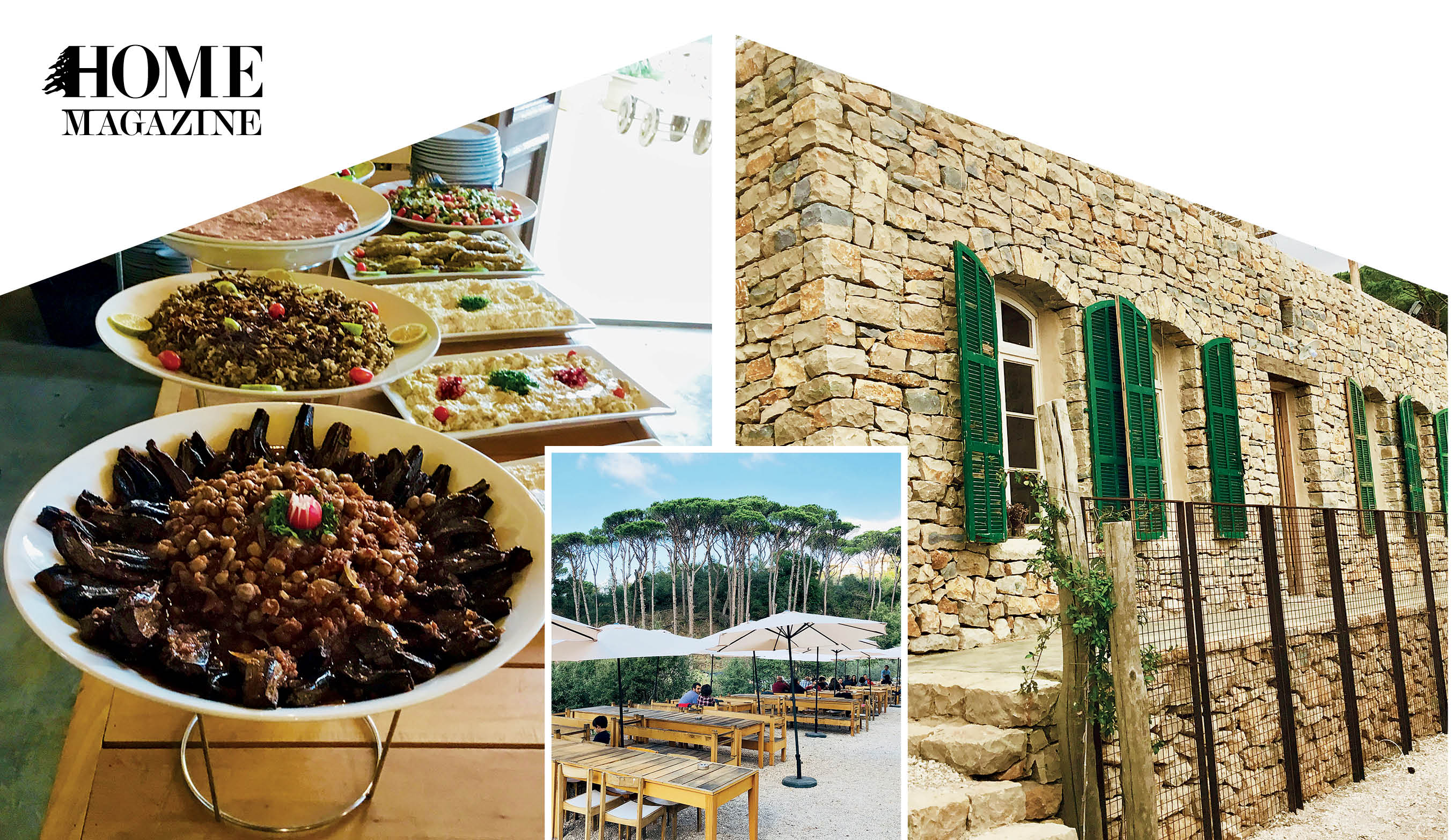 A picture of food platters, a picture of wood tables with green trees, and a picture of a house of rocks with green windows