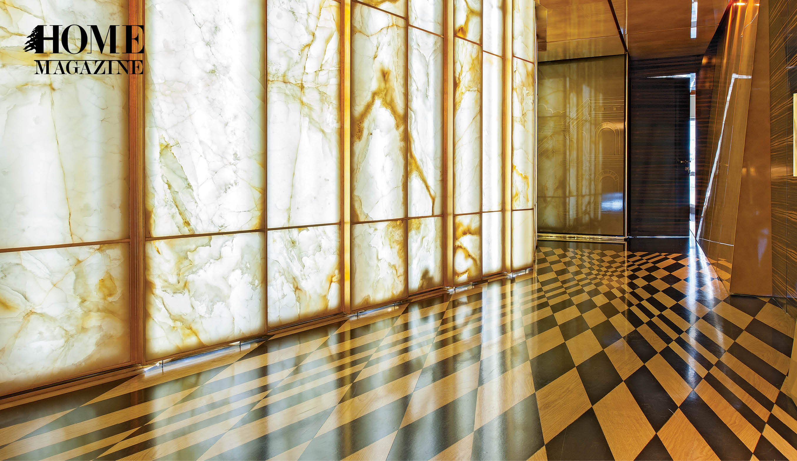 Patterned brown and orange floor with glass wall