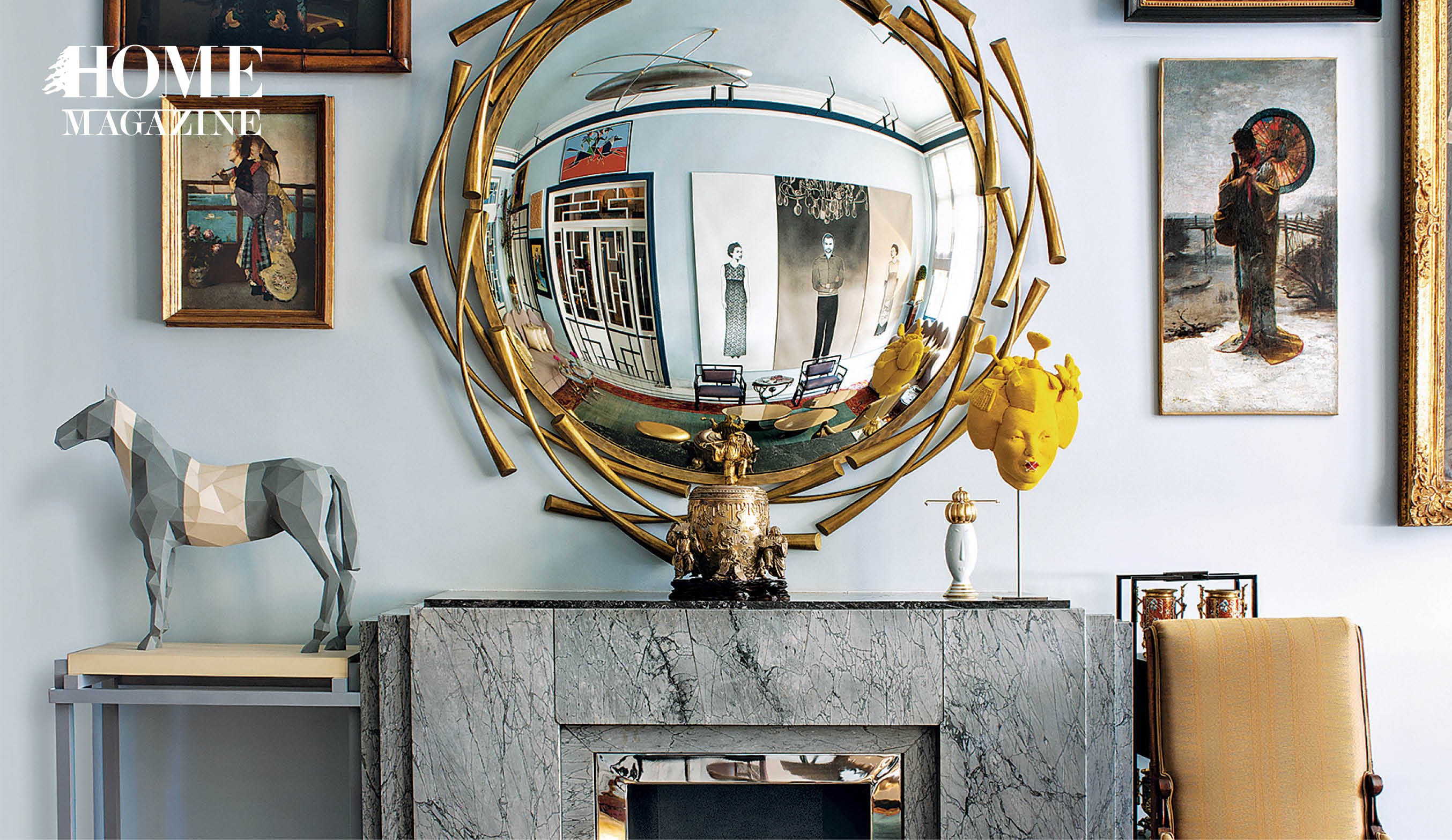 Round mirror, pictures on wall, table, chair, horse statue,chimney