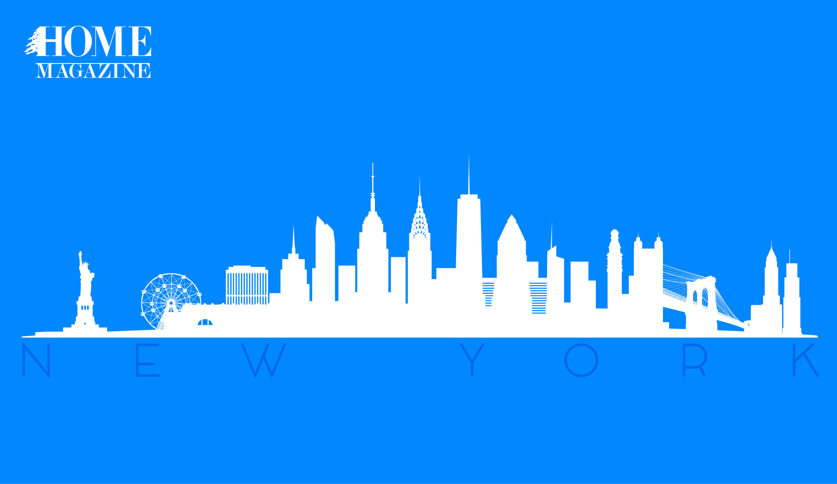 Drawing of New York white buildings on blue background