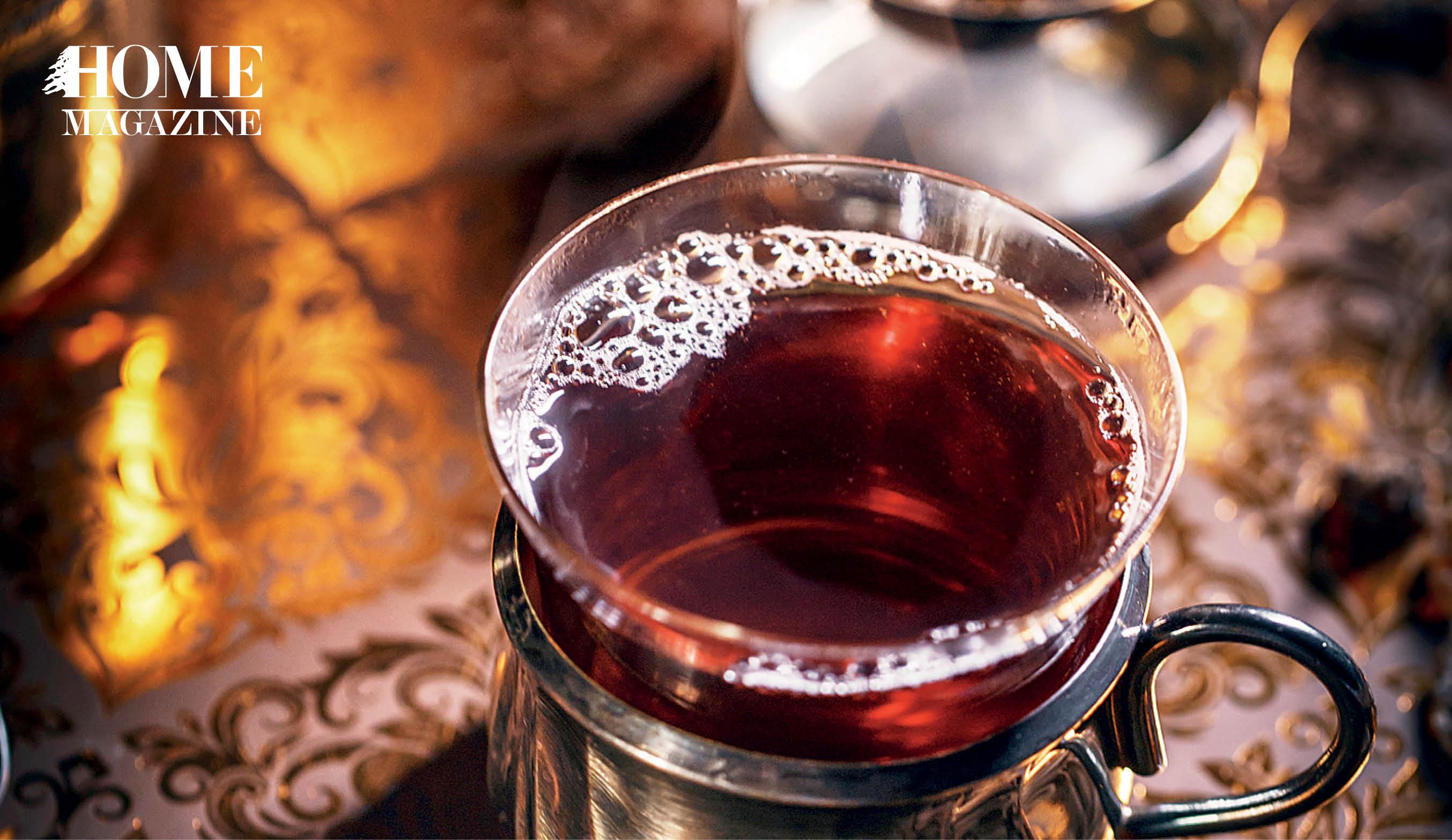 Black tea liquid in a cup