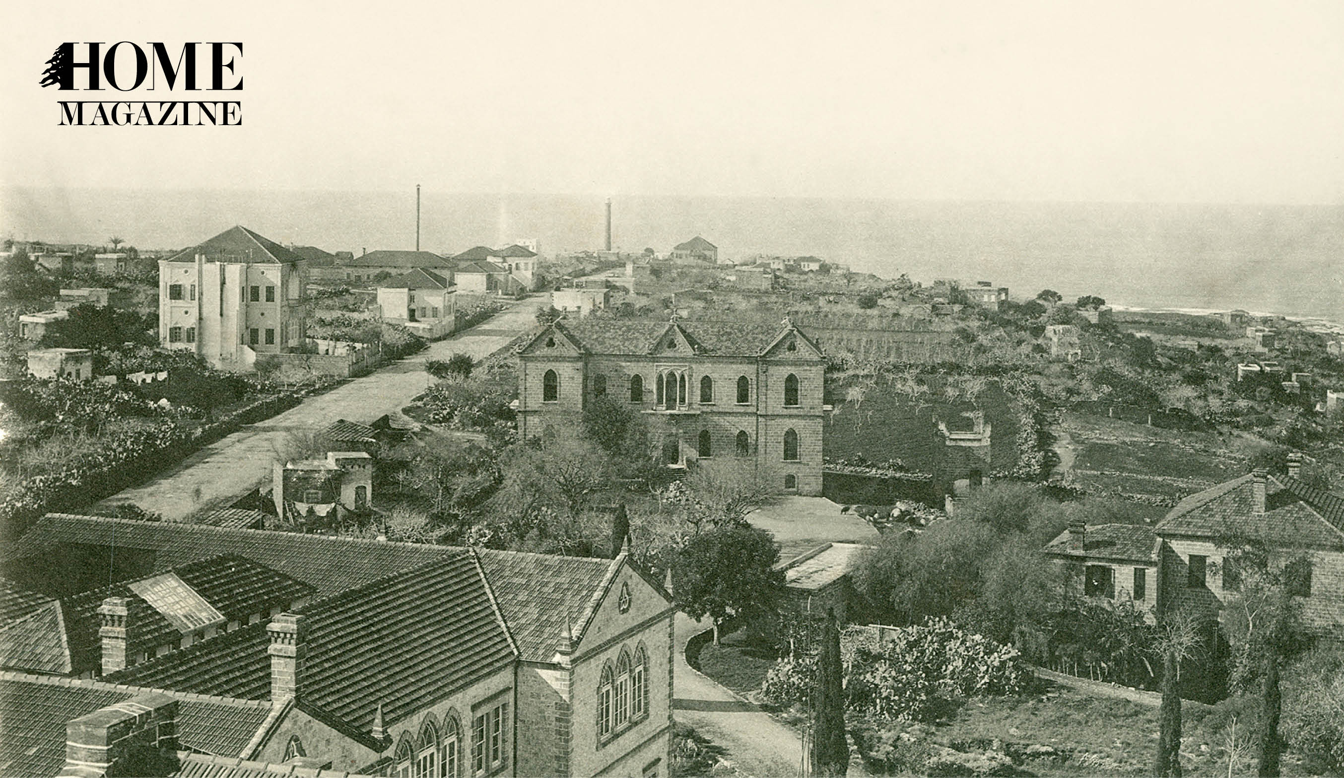 Black and white picture of landscape with buildings