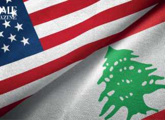 American and Lebanese flags