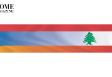 Merged Lebanese flag of red, white and green cedar with Armenian flag of red, blue and orange