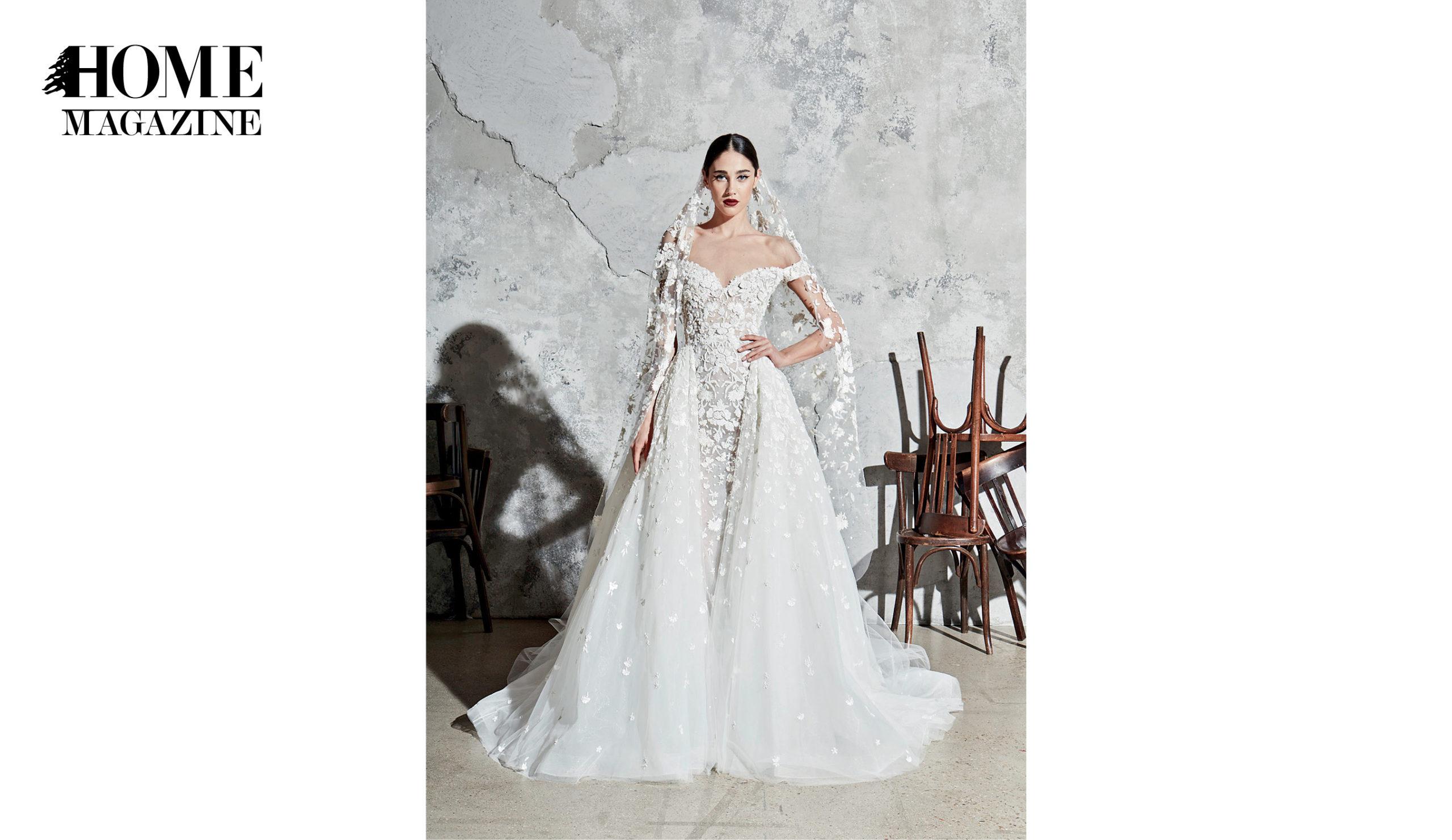Model in bridal dress