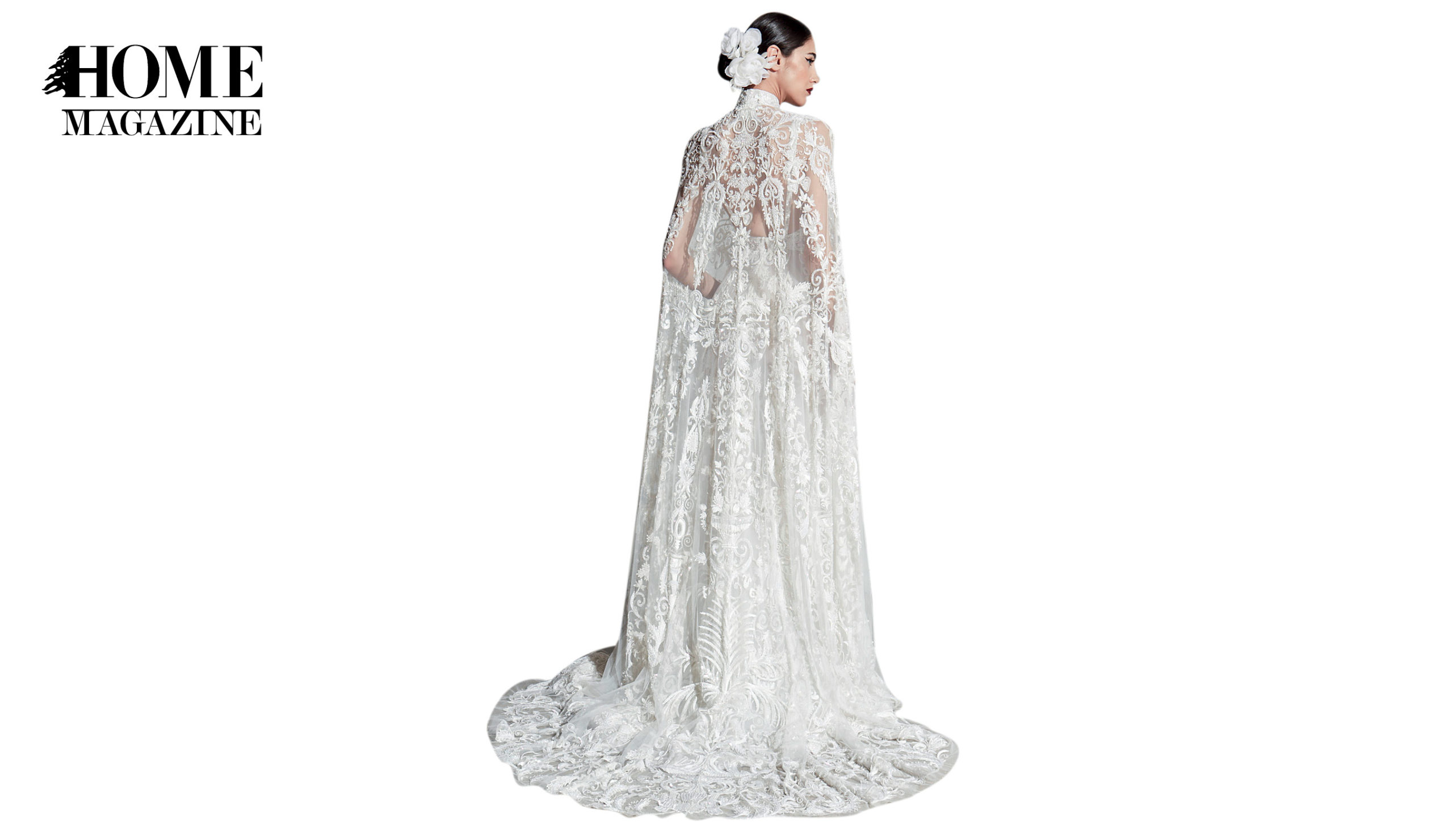 Back view of model in bridal dress