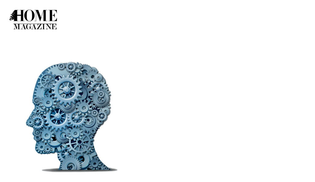 Illustration of human head made of blue metal round objects