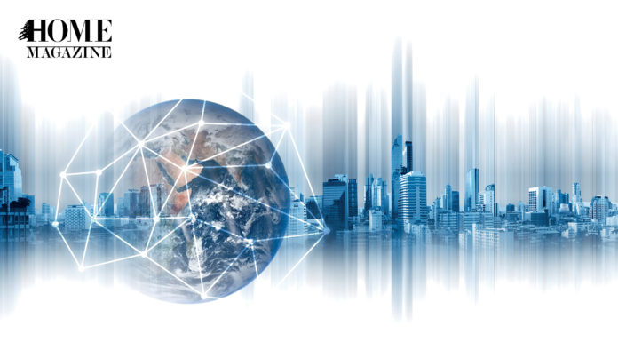 Illustration of the earth on a background picture of buildings in blue color