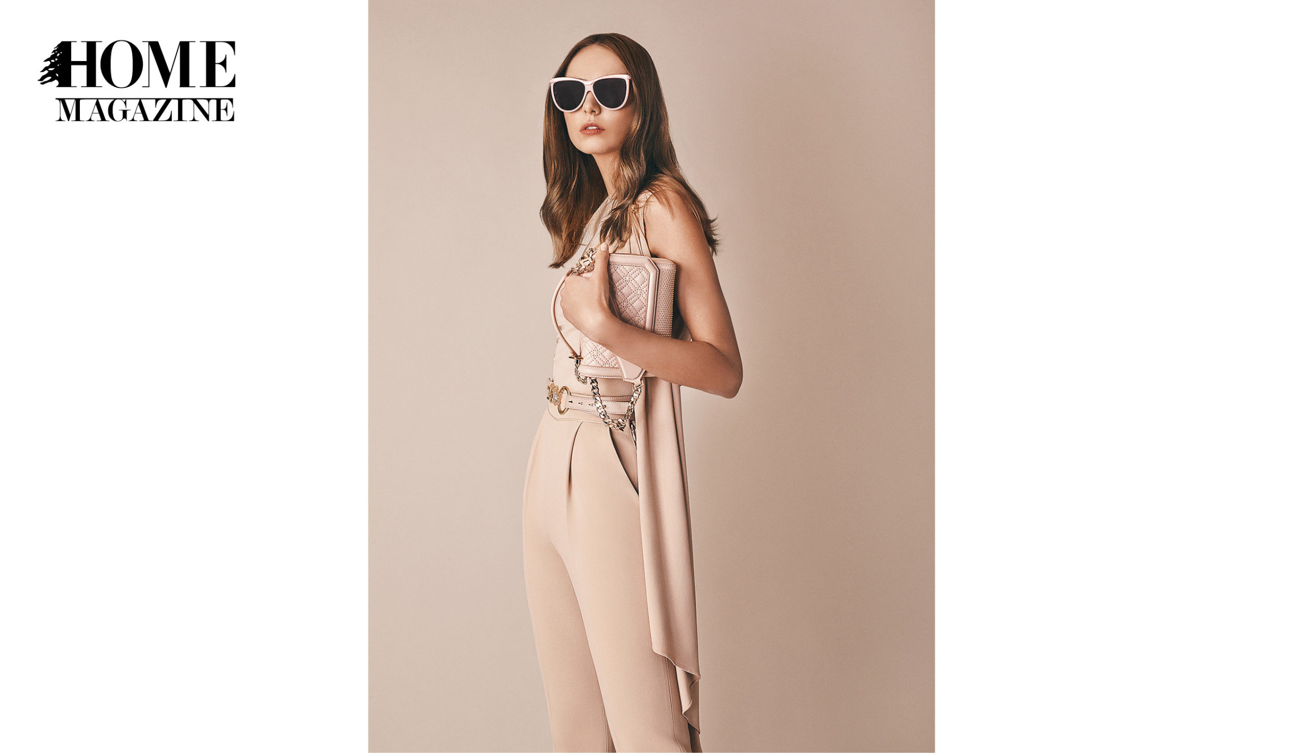Model wearing beige clothes and sunglasses