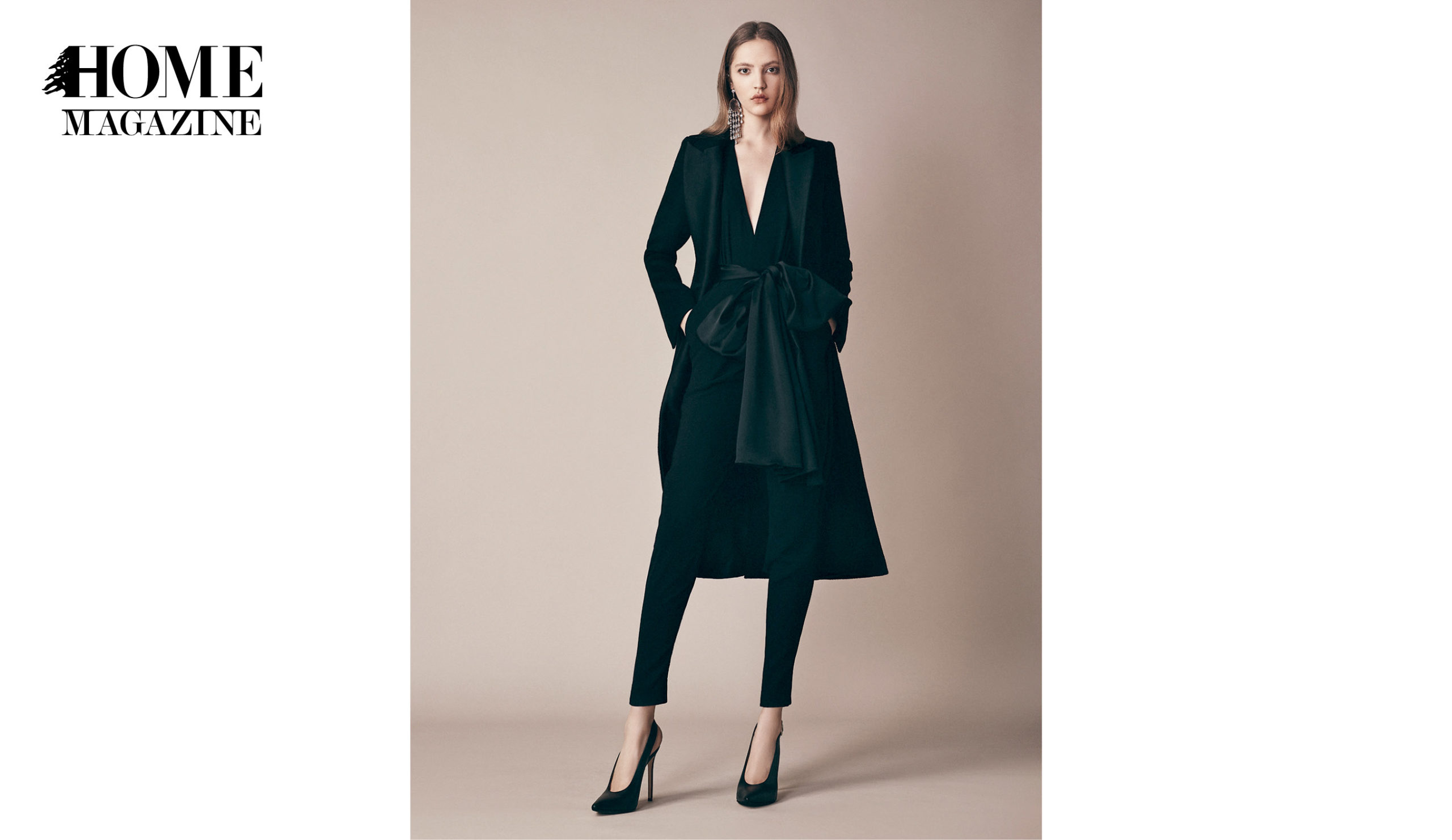 Model wearing black coat