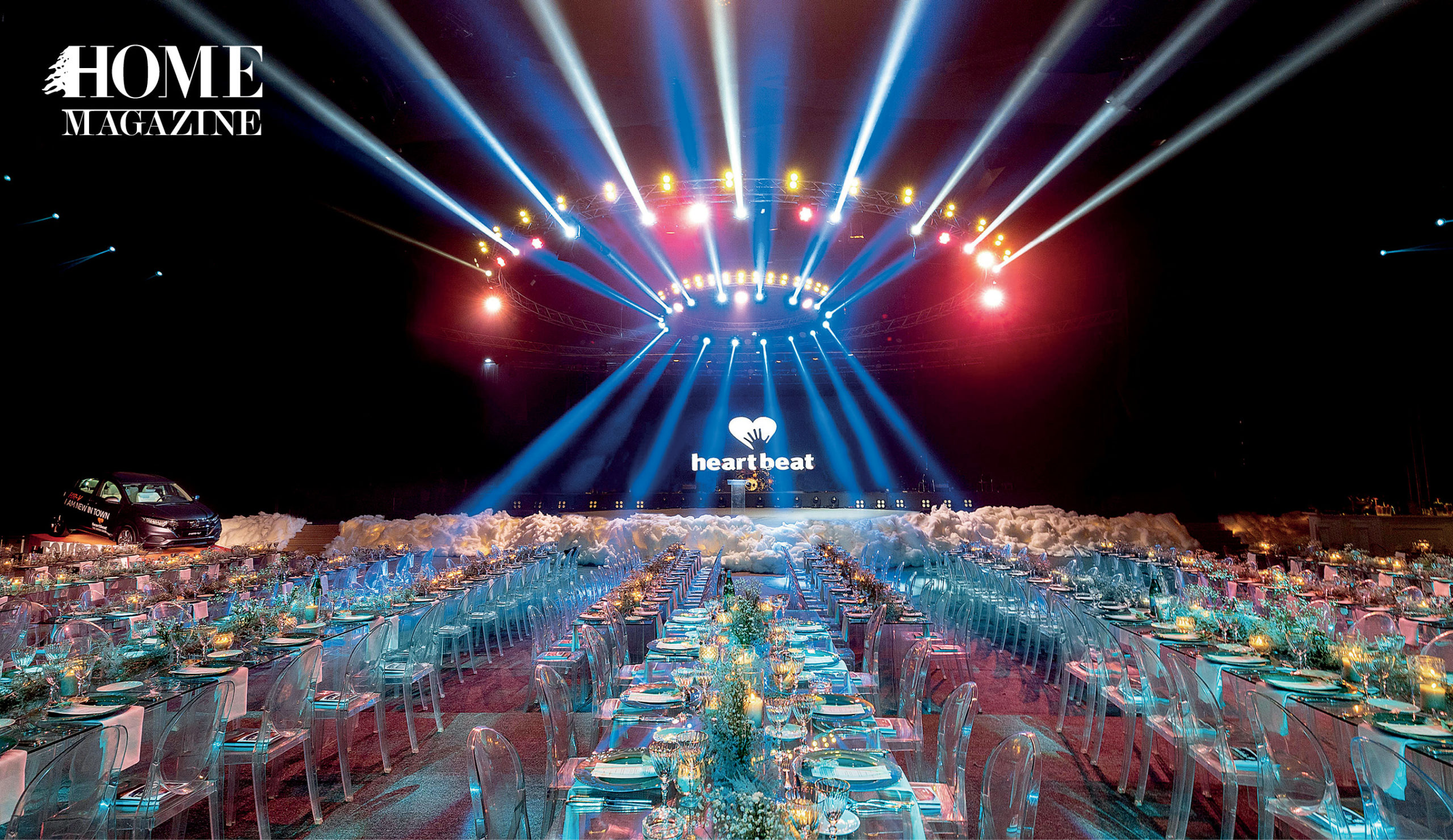 Glass table and chair setup with stage and lightings