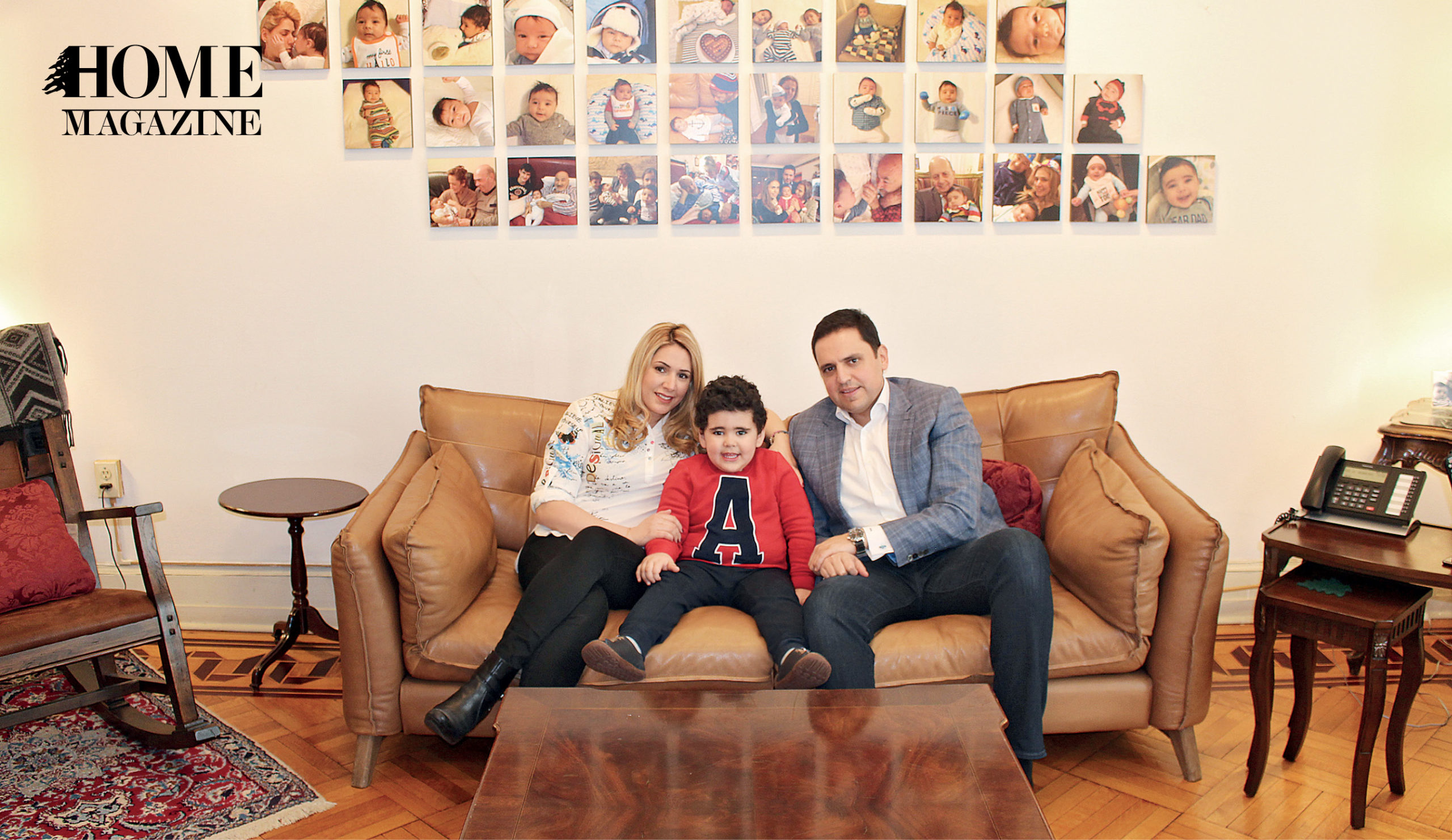 A man, a woman and a child on a couch