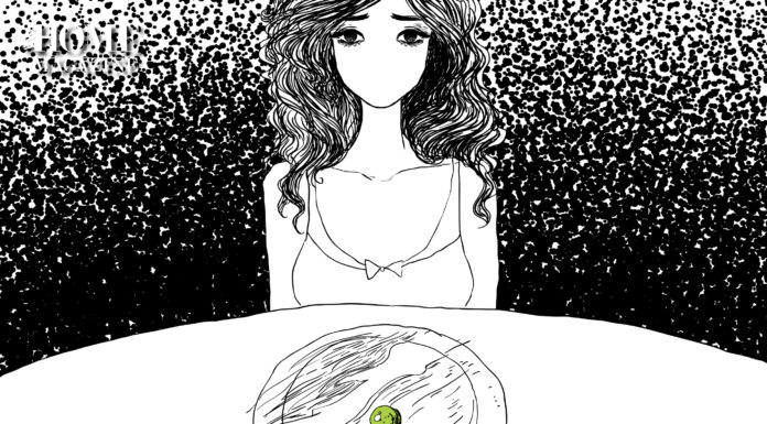 Illustration of a woman sitting on a table with a plate that contains a green circled object