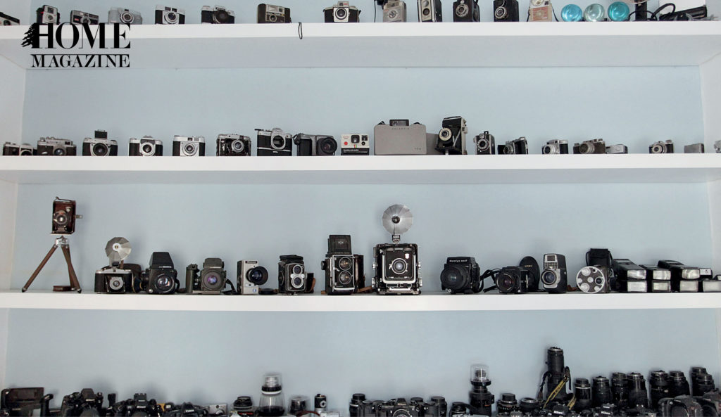 Cameras on shelves