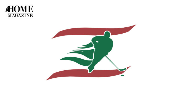 Green illustration of man playing with stick hockey between two red lines