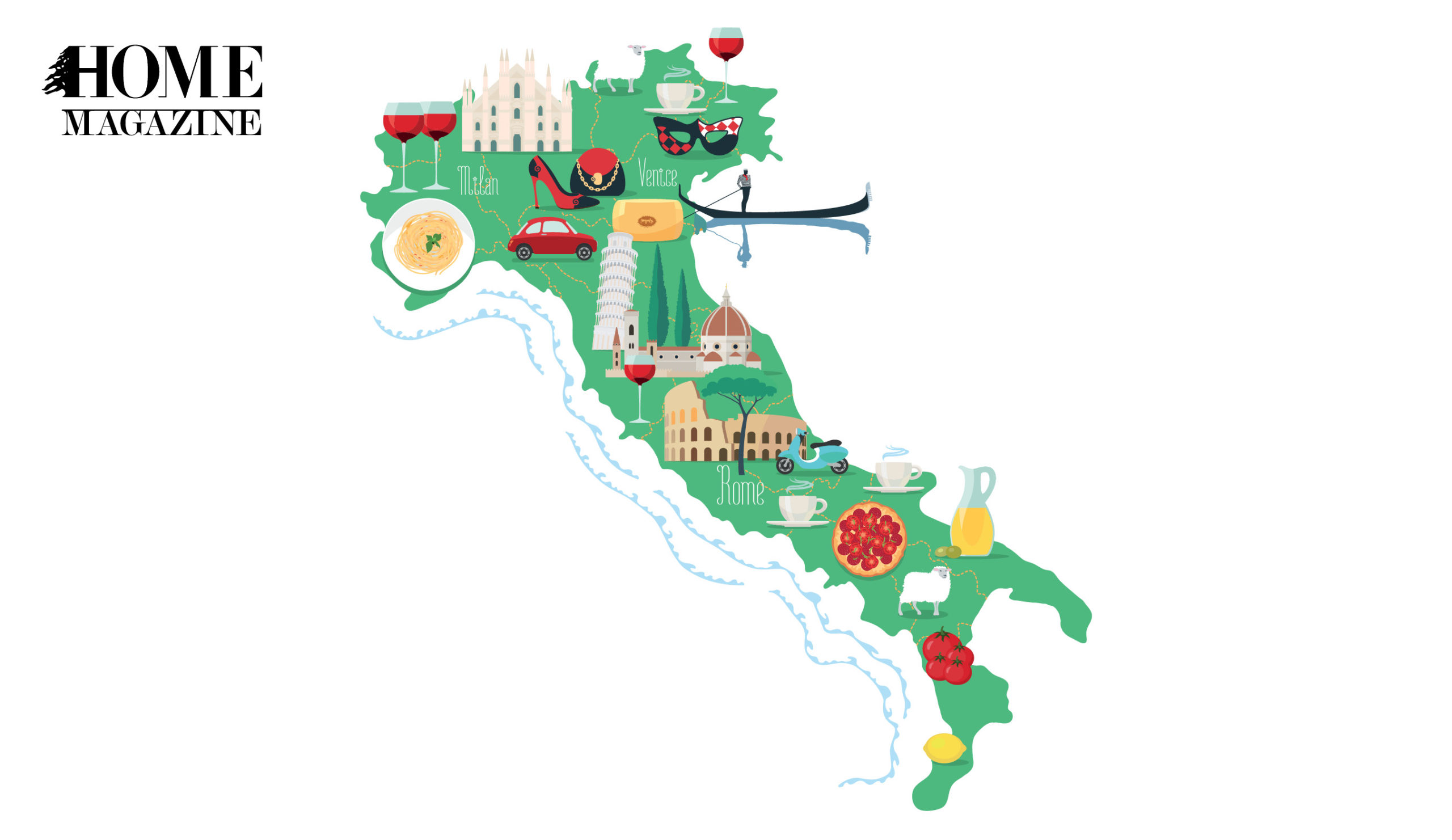 A green map with colored objects like wine glasses, a car, juice, tomato, pizza, pasta, temples and clothing