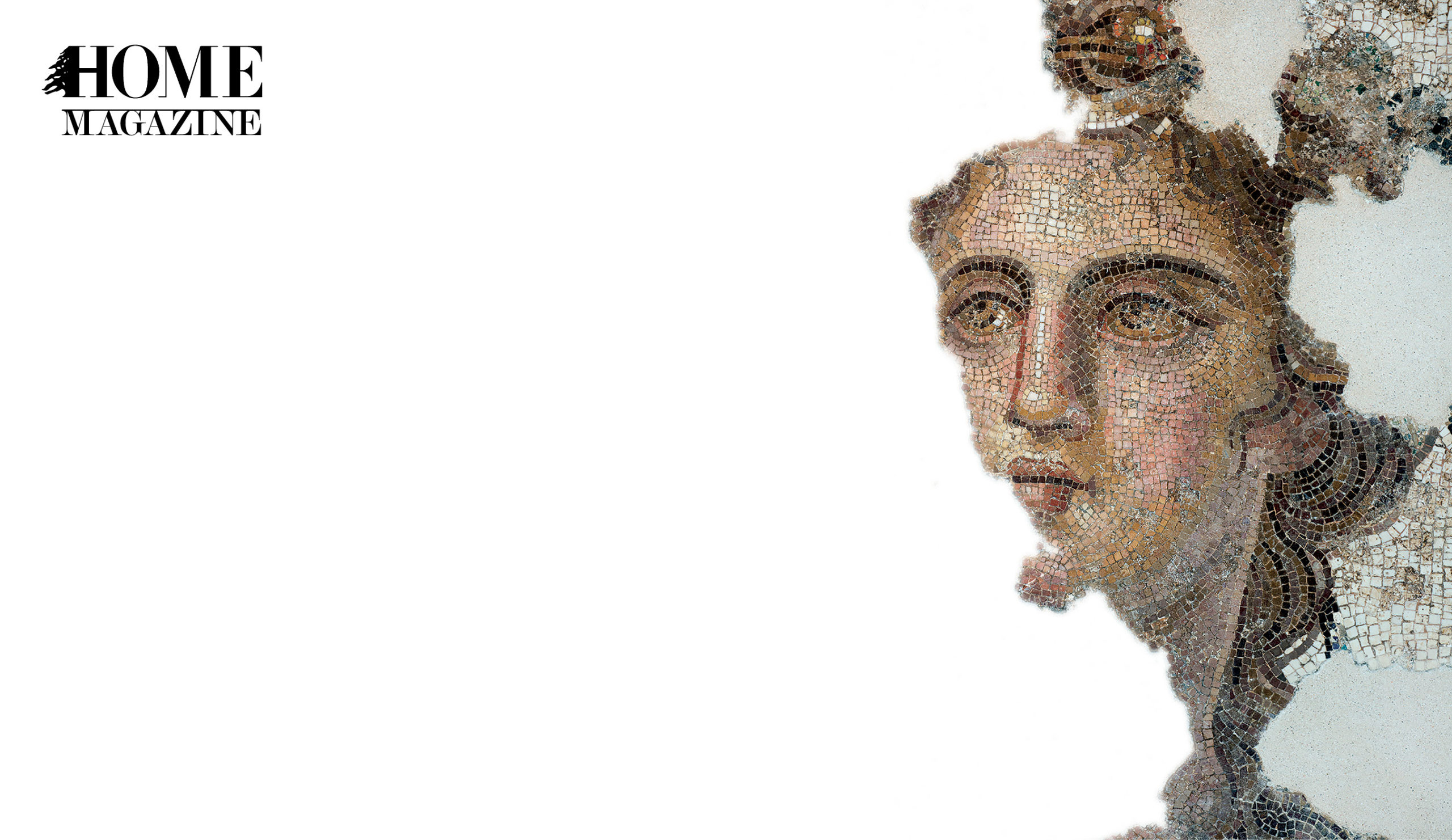 Illustration of a woman's face in mosaic