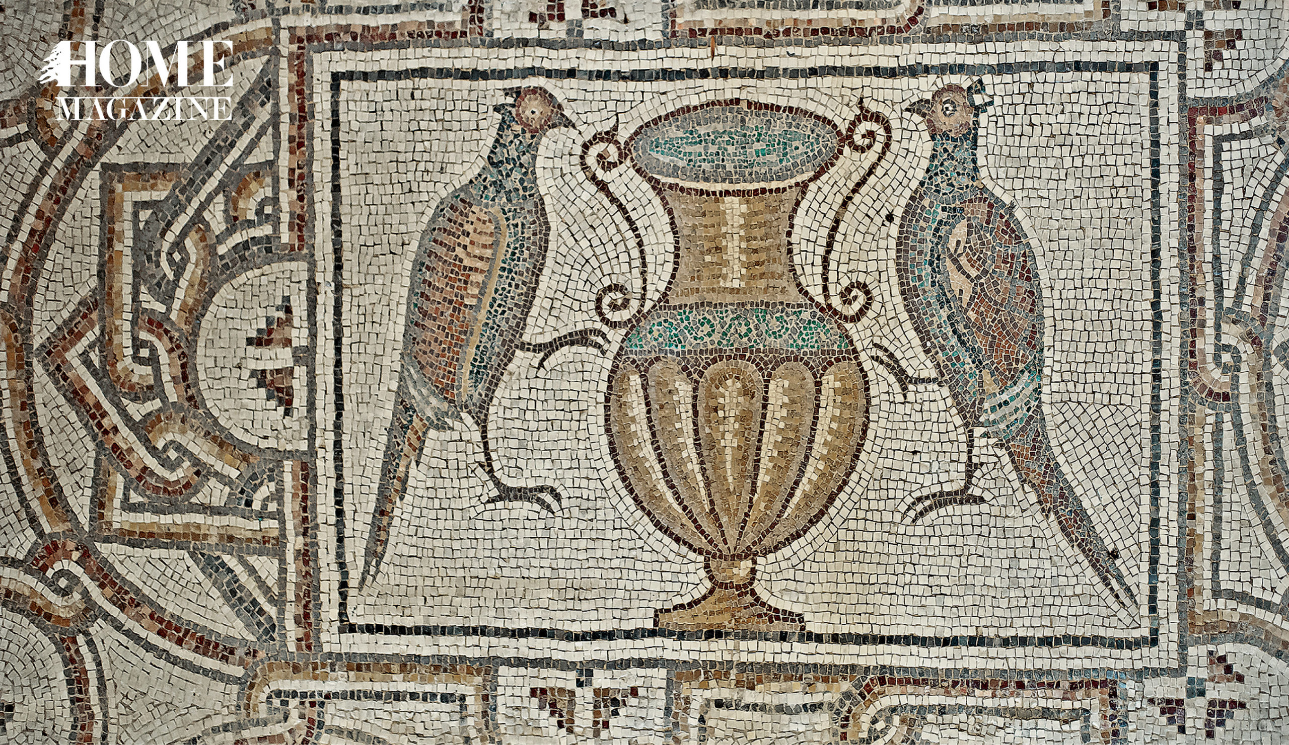 Illustration of two birds and a vase in mosaic