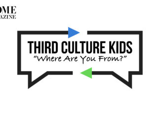 """Text Third Culture Kids """"Where Are You From?"""" inside a square with arrow edges"""