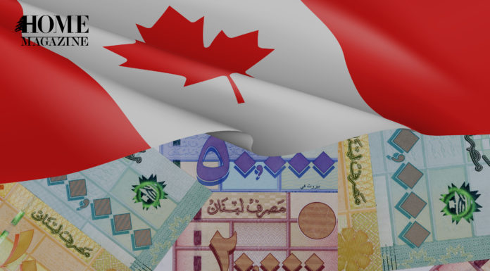 lebanese money 20000 50000 and 100000 with the Canadian Flag