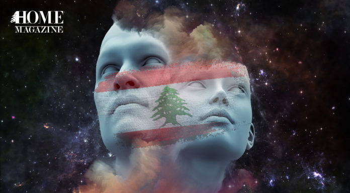 2 faces of a man and woman looking upwards with the lebanese flag