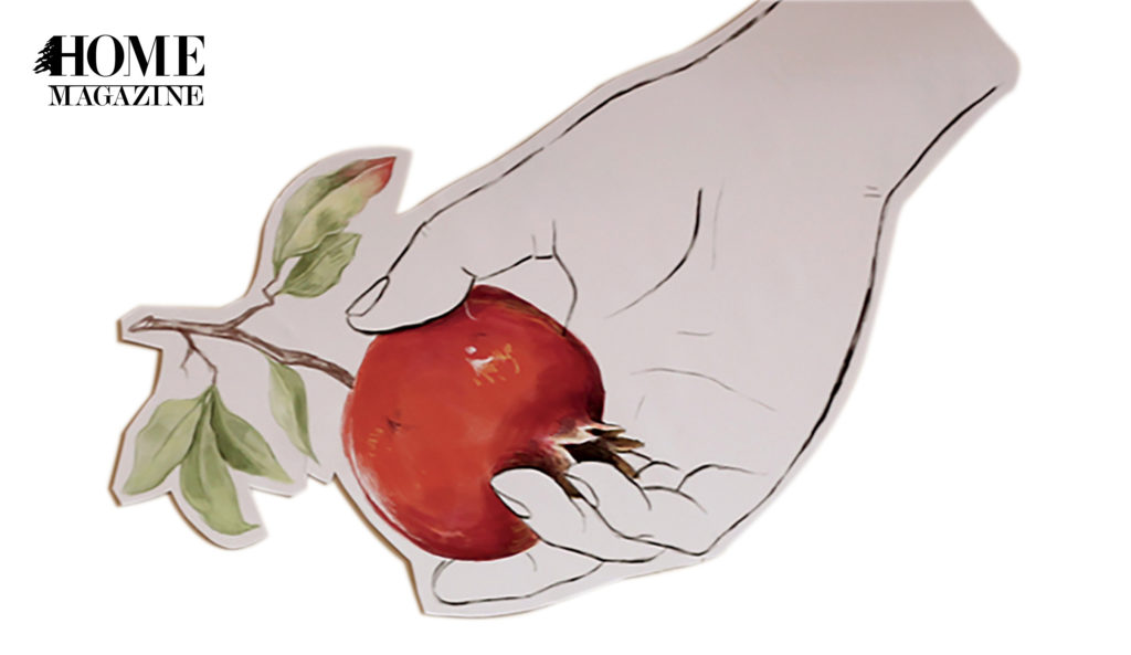 Illustration of a red fruit in a hand palm