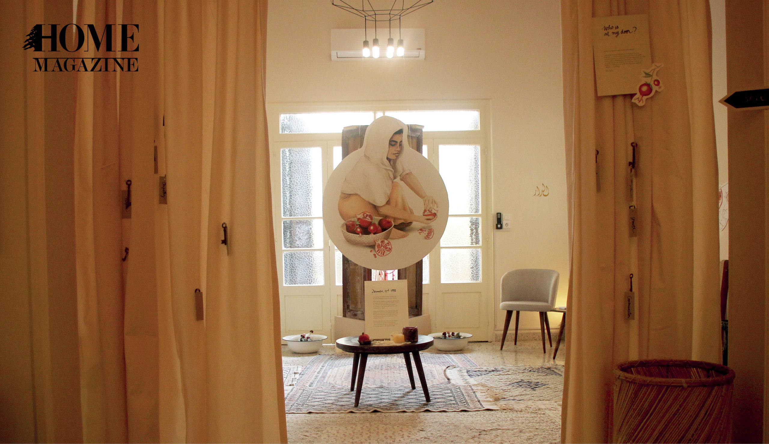 Interior space with white curtains and white glass windows with a rounded painting of a woman in the middle space