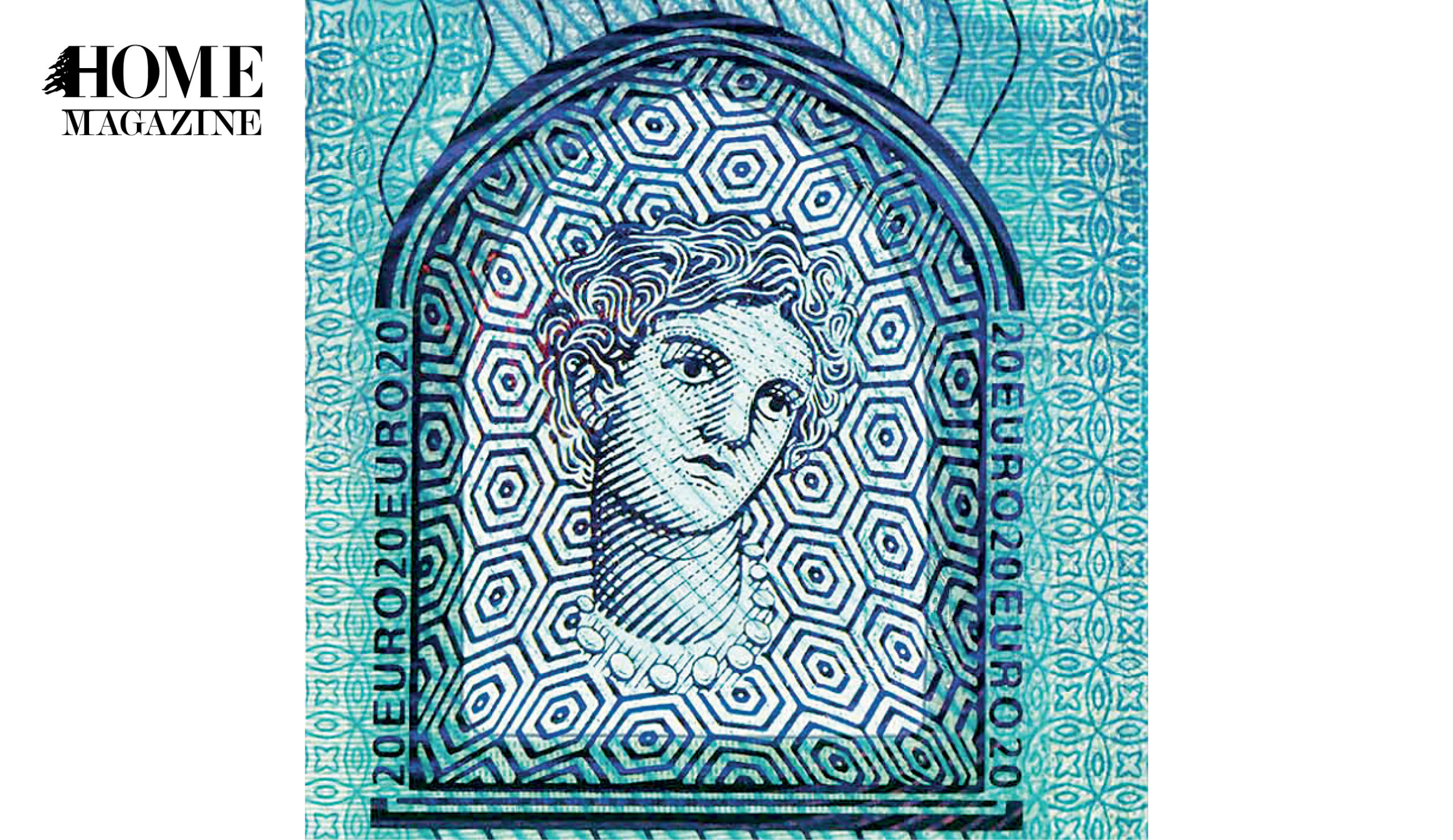 Woman face portrait on blue banknote
