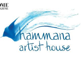 Hammana artist house in blue font
